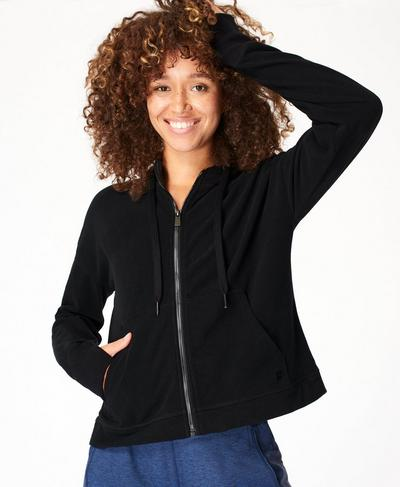 Sanctuary Luxe Fleece Zip Through Hoodie, Black | Sweaty Betty