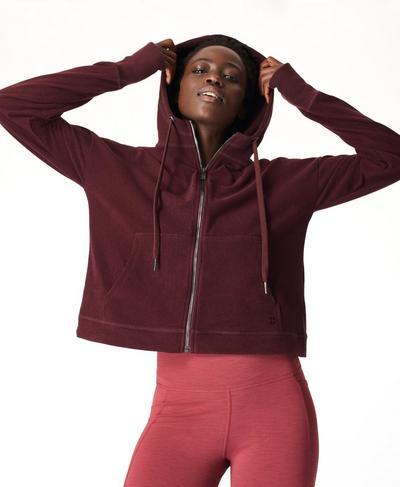 Sanctuary Luxe Fleece Zip Through Hoodie, Black Cherry | Sweaty Betty
