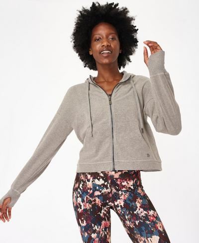 Sanctuary Luxe Fleece Zip Through Hoodie, Cloud Grey Marl | Sweaty Betty