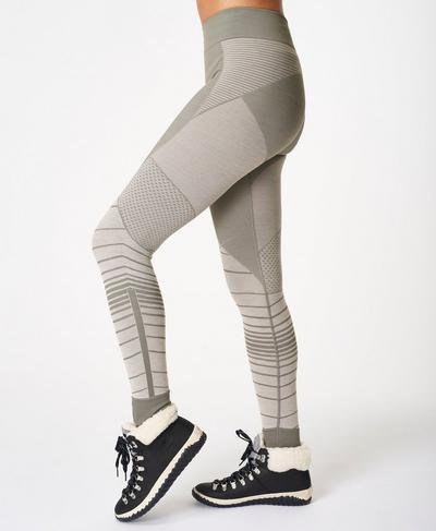 Betty Ski Merino Base Layer Leggings, Lily White Illusion Jacquard | Sweaty Betty