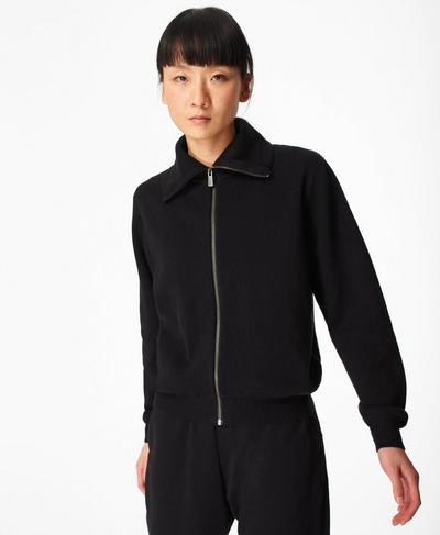 Terrain Jacquard-Strickjacke mit Reißverschluss, Black | Sweaty Betty