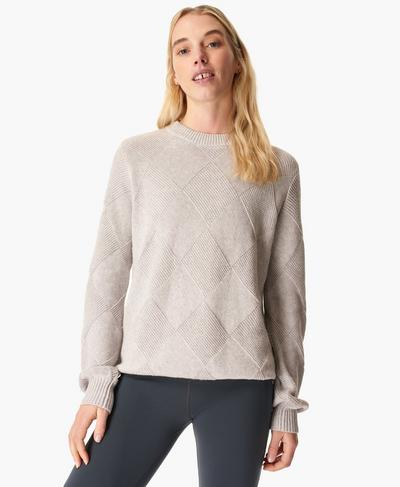 Diamond Knitted Sweater, Light Grey Marl | Sweaty Betty
