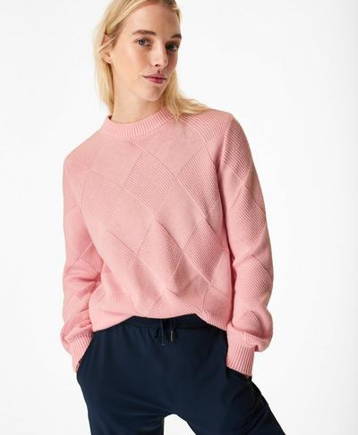 Diamond Knitted Sweater, Nerine Pink | Sweaty Betty