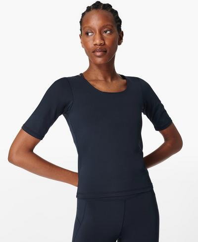 All Day Short Sleeve Top, Navy Blue | Sweaty Betty