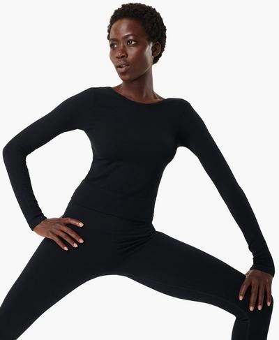 Mindful Seamless Long Sleeve Top, Black | Sweaty Betty