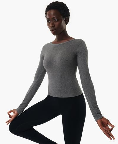 Mindful Seamless Long Sleeve Top, Charcoal Grey Marl | Sweaty Betty