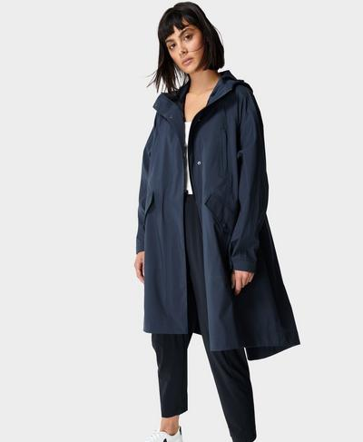 Mission Waterproof Parka, Navy Blue | Sweaty Betty