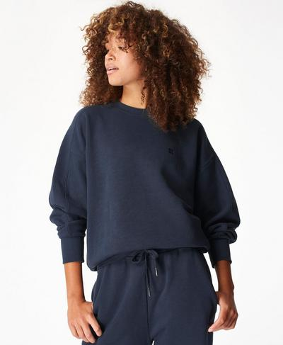 Essentials Sweatshirt, Navy Blue | Sweaty Betty