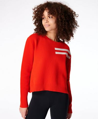 Serenity Crew Neck, Rich Red | Sweaty Betty