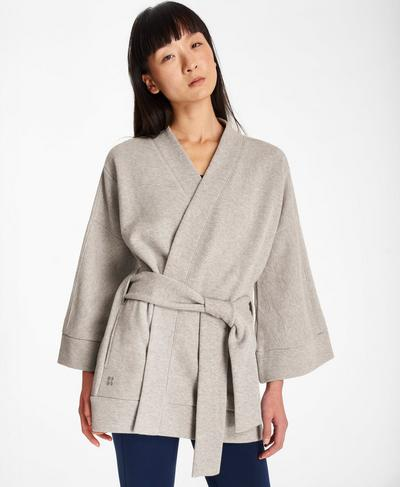 Wrap Around Belted Sweat, Mid Grey Marl | Sweaty Betty