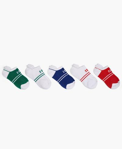 Sneaker Liner 5 Pack, Jewel Green Stripe | Sweaty Betty