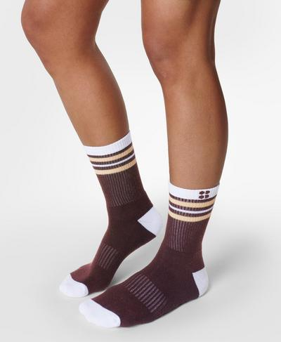 Go Faster Stripes Ankle Socks 2 Pack, Plum Red | Sweaty Betty