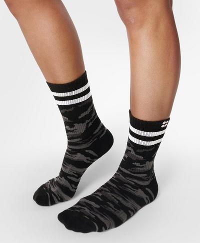Go Faster Stripes Ankle Socks 2 Pack, Ultra Black Camo Print | Sweaty Betty