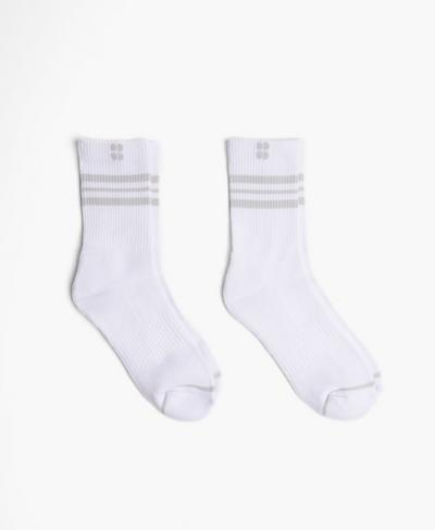 Go Faster Stripes Ankle Socks 2 Pack, White A | Sweaty Betty
