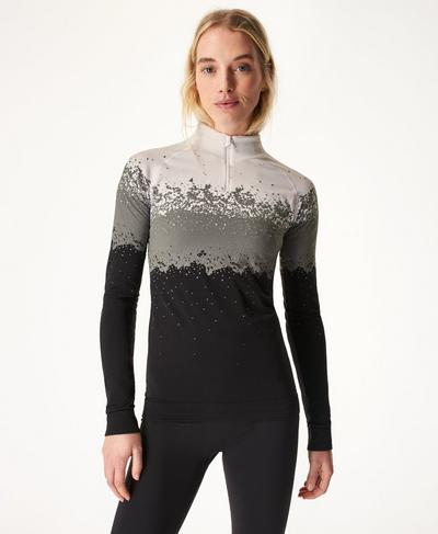 Betty Ski Base Layer Top, White Snowfall Jacquard | Sweaty Betty