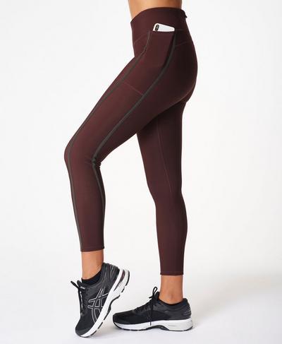 Thermodynamic 7/8 Running Leggings, Black Cherry Purple | Sweaty Betty