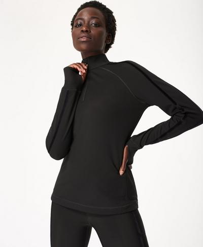 Thermodynamic Half Zip Reflective, Black | Sweaty Betty