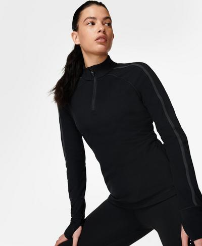 Thermodynamic Half Zip Running Top, Black Ref | Sweaty Betty