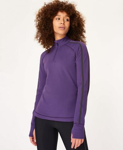 Thermodynamic Half Zip Running Top, Vine Purple Ref | Sweaty Betty