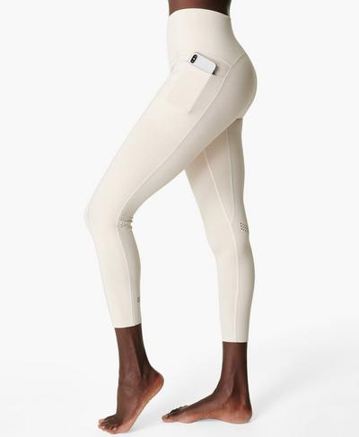 Super Sculpt High-Waisted Zig Zag 7/8 Yoga Leggings, Vanilla White | Sweaty Betty