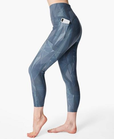 Super Sculpt High-Waisted Zig Zag 7/8 Yoga Leggings, Blue Sail Print | Sweaty Betty