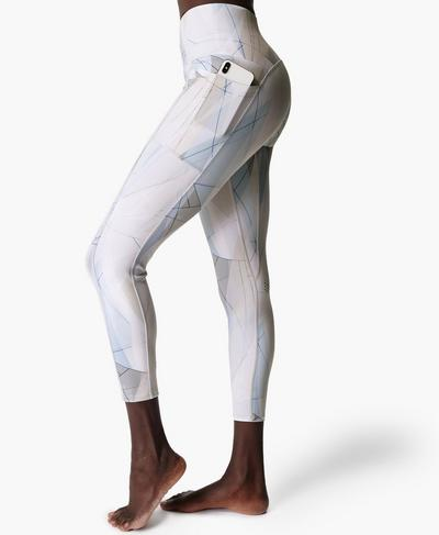 Super Sculpt High-Waisted Zig Zag 7/8 Yoga Leggings, White Sail Print | Sweaty Betty