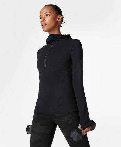 Power Half Zip Hooded Top, Black | Sweaty Betty