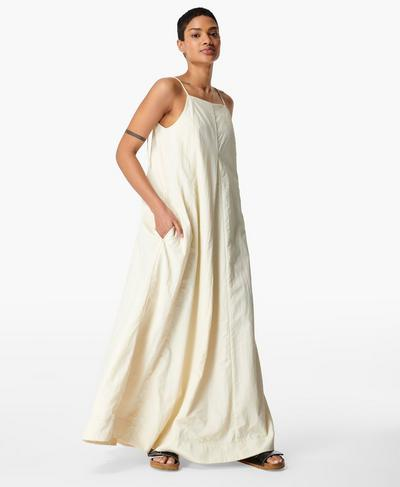 Air Flow Wendbares Maxikleid, Vanilla White | Sweaty Betty