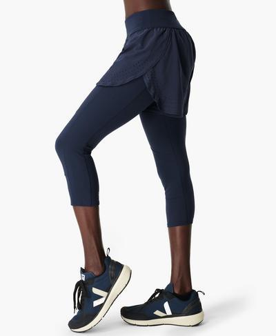 Power Double Up Fitness Leggings, Navy Blue | Sweaty Betty