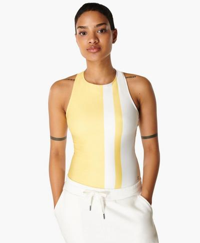 All Day Bodysuit, Yellow Stripe Print | Sweaty Betty