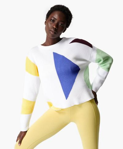 Flash Dance Cotton Sweatshirt, Lily White Multi | Sweaty Betty
