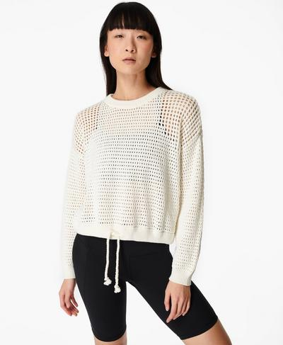 Tides High Open Weave Sweater, Lily White | Sweaty Betty