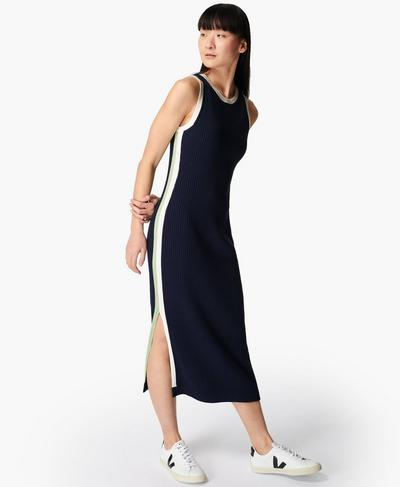 Strickmidikleid mit Kontrastdetails, Navy Blue | Sweaty Betty
