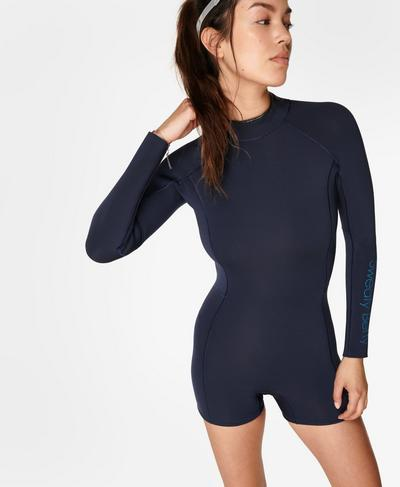 Coral Surf Short Wetsuit, Navy Blue | Sweaty Betty