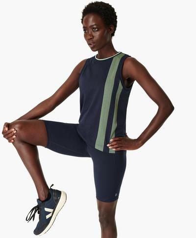Triumph Seamless Workout Vest, Navy Blue | Sweaty Betty