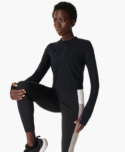 Power Half Zip Workout Top, Black | Sweaty Betty