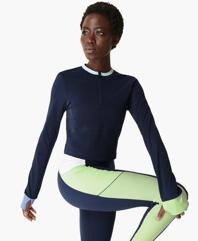 Power Half Zip Workout Top, Navy Blue | Sweaty Betty