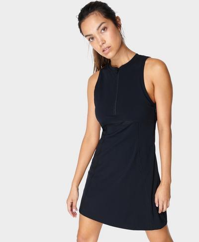Power Half Zip Gym Dress, Black | Sweaty Betty