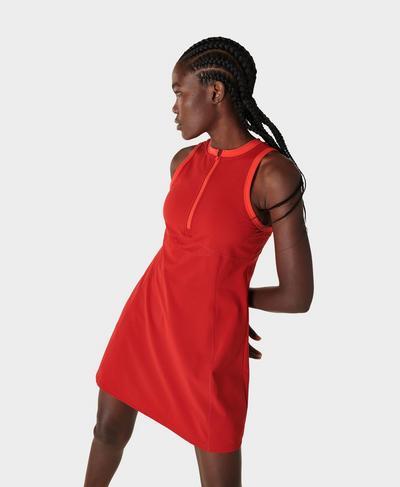 Power Half Zip Gym Dress, Cardinal Red | Sweaty Betty