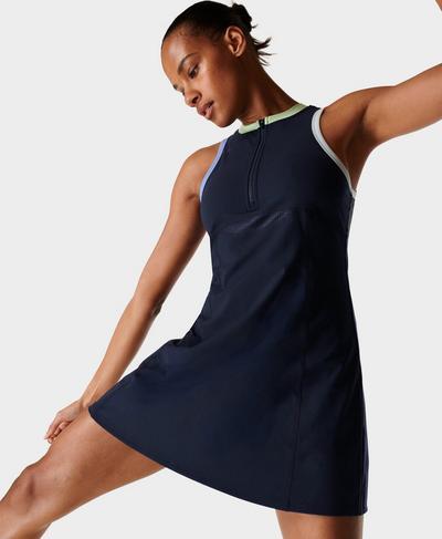 Power Fitnesskleid mit halbem Reißverschluss, Navy Blue | Sweaty Betty