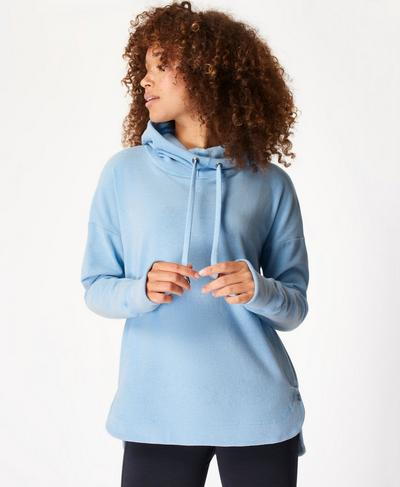Escape Luxe Fleece Hoody, Air Blue | Sweaty Betty