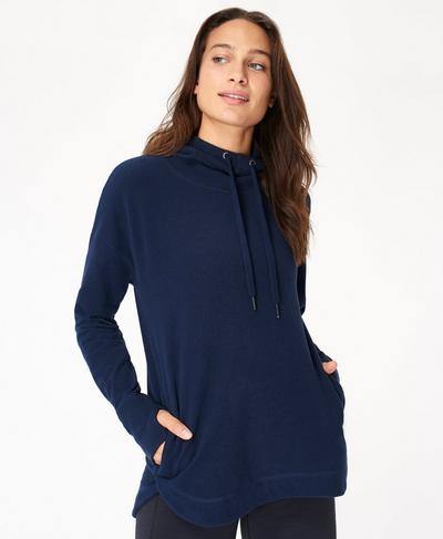Escape Luxe Fleece Hoody, Beetle Blue | Sweaty Betty
