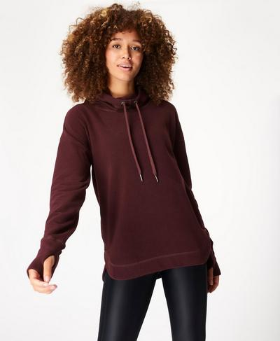 Escape Luxe Fleece Hoody, Black Cherry | Sweaty Betty