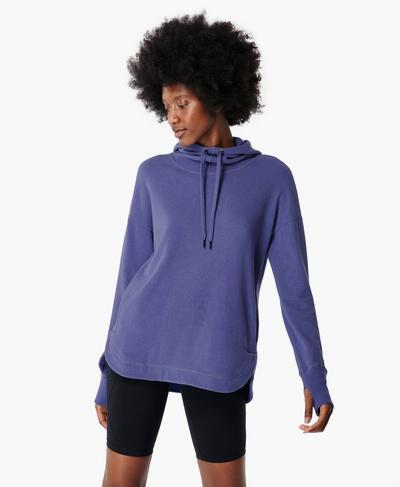 Escape Luxe Fleece Hoody, Cornflower Blue | Sweaty Betty