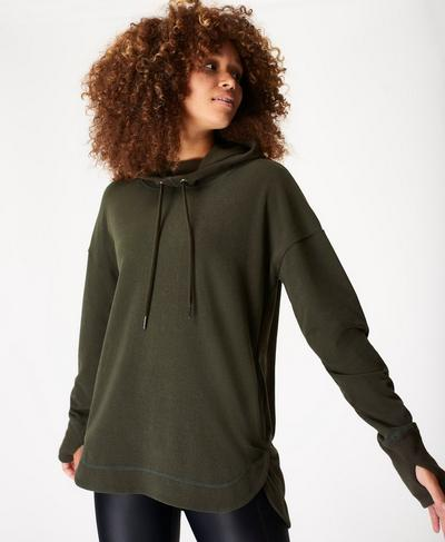 Escape Luxe Fleece Hoody, Dark Forest | Sweaty Betty