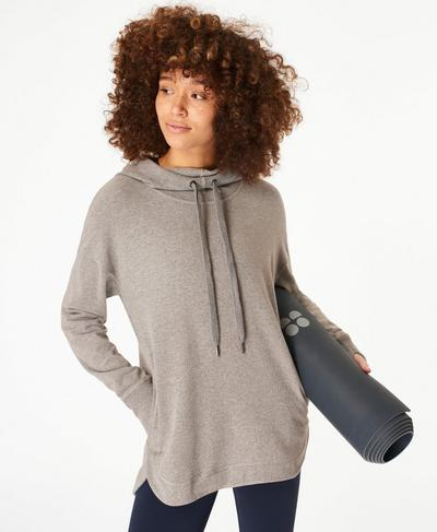 Escape Luxe Fleece-Hoodie, Light Grey Marl | Sweaty Betty
