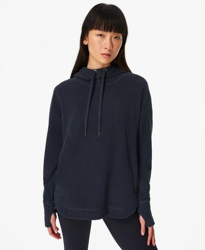 Escape Luxe Fleece Hoodie, Navy Blue | Sweaty Betty