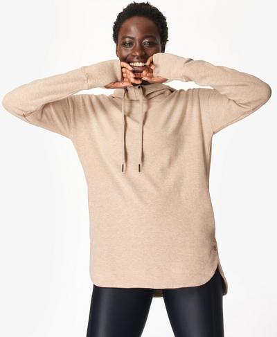 Escape Luxe Fleece Hoody, Oatmeal Marl | Sweaty Betty