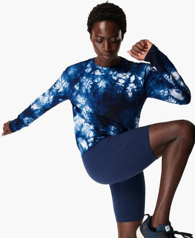 Triumph Seamless Workout Top, Navy Blue Tie Dye | Sweaty Betty