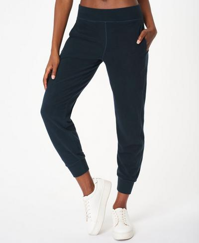 Gary Luxe Fleece Trousers, Beetle Blue | Sweaty Betty